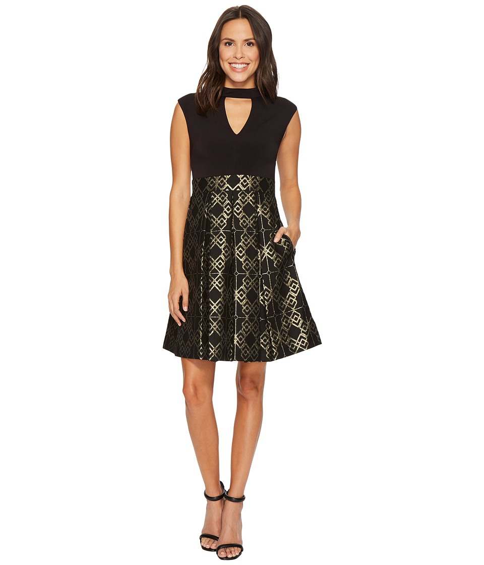 Vince Camuto Ity Top w/ Jacquard Pleated Skirt Dress (Black/Gold) Women