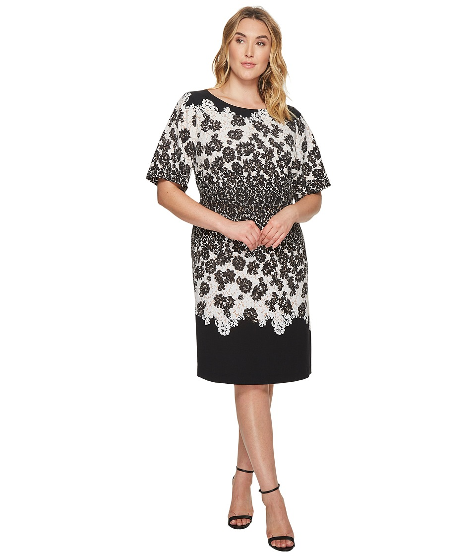 Adrianna Papell Plus Size Fluttering Lace Print Fit and Flare with Elbow Length Sleeves (Black Multi) Women