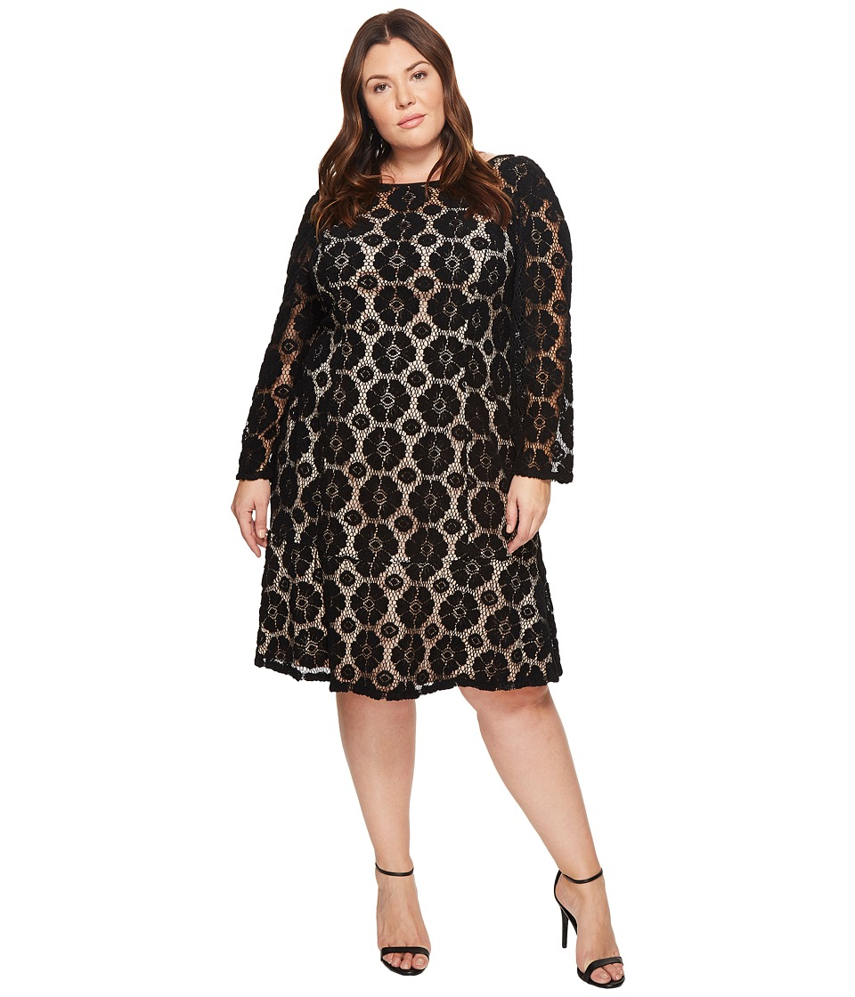 Adrianna Papell Plus Size Textural Floral and Dot Lace Sheath Dress with Flounce Hem (Black/Pale Pink) Women