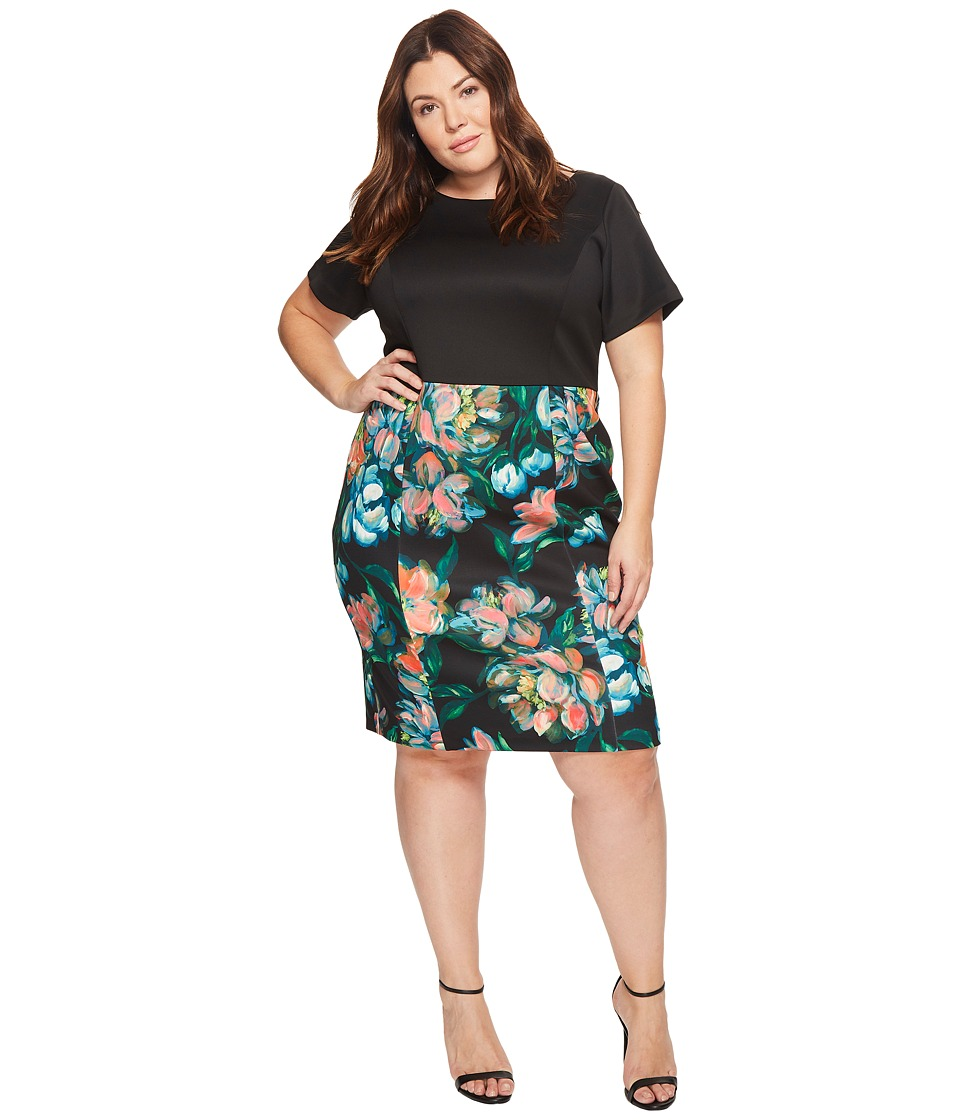 Adrianna Papell - Plus Size Printed Bateau Neckline Sheath Dress
