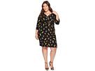 Adrianna Papell Plus Size 3/4 Sleeve V-Neck Wrap Dress