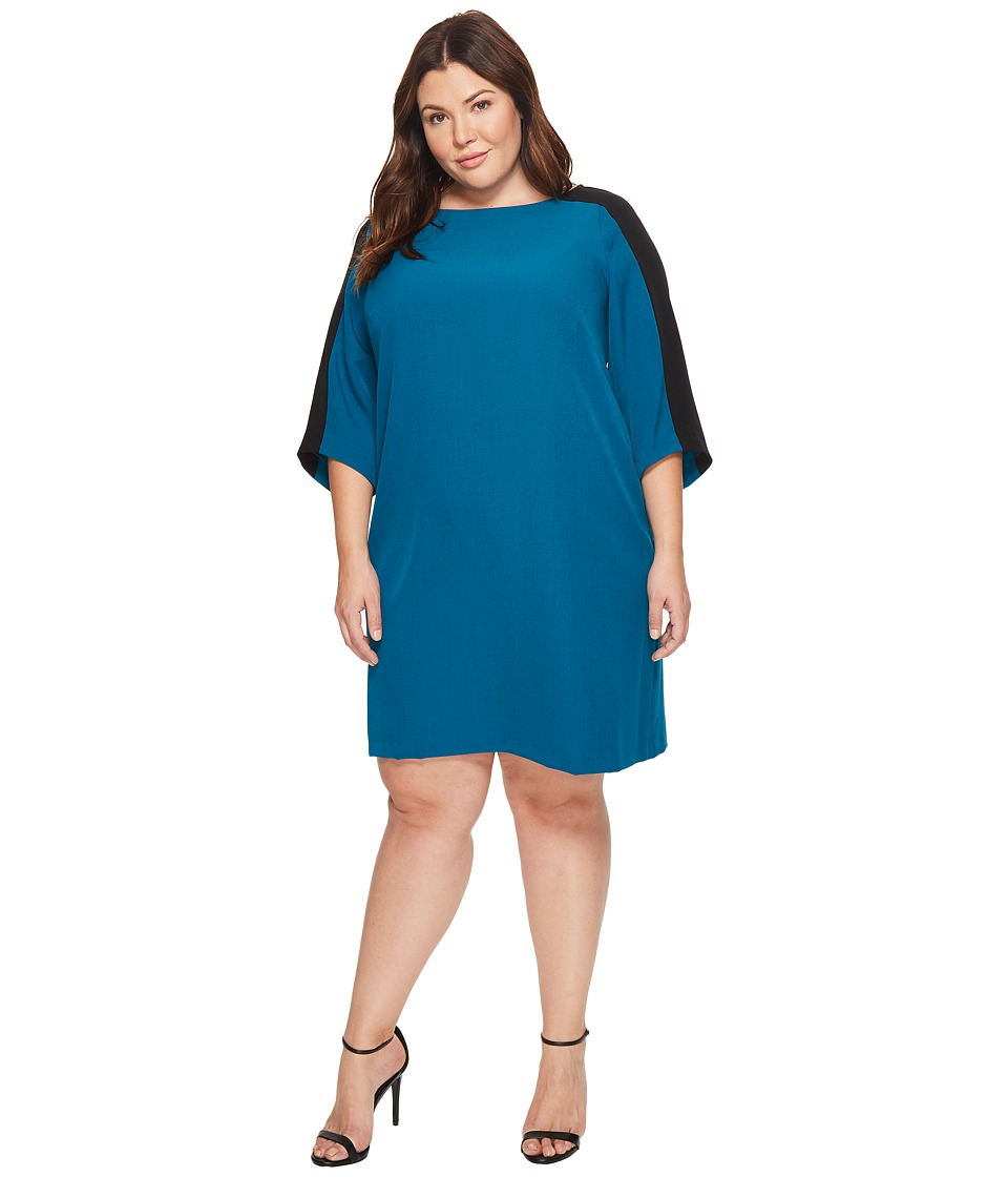 Adrianna Papell Plus Size Stretch Crepe Shift Dress (Winter Lagoon) Women