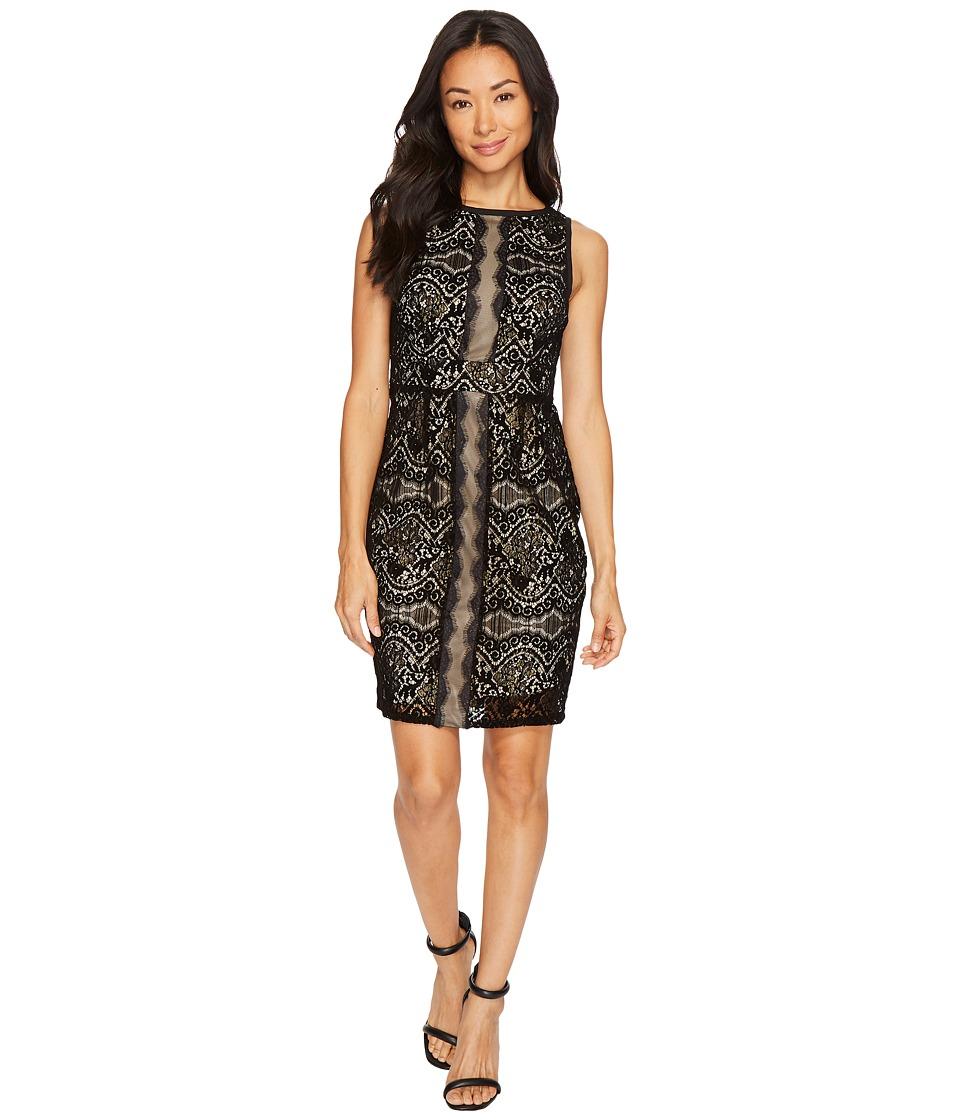 Adrianna Papell Petite Flocked Lurex Lace Mixed Media Sheath Dress (Black/Champagne) Women