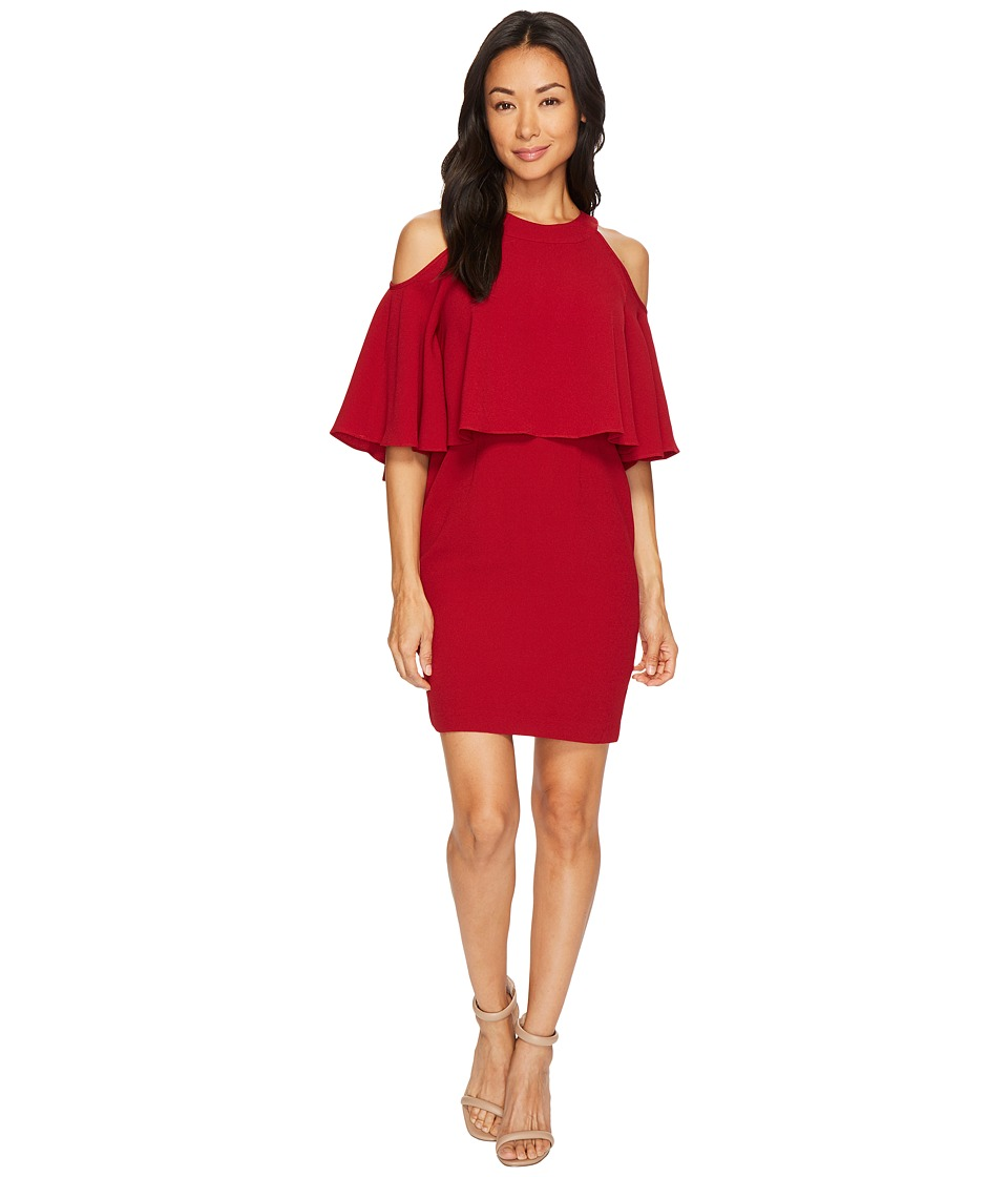 Adrianna Papell Petite Textrd Crepe Cold Shoulder Sheath Dress (Cranberry) Women