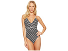 MICHAEL Michael Kors Rope Geo Wrap Shirred Neck One-Piece Swimsuit w/ Removable Soft Cups