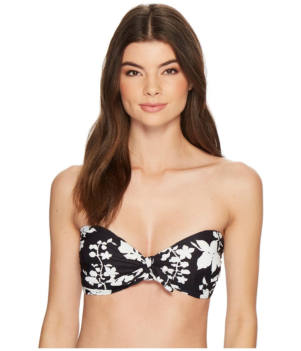 MICHAEL Michael Kors Floral Vine Tie Front Bandeau Bikini Top w/ Molded Cups Removable Strap (Black)