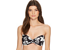 MICHAEL Michael Kors Floral Vine Tie Front Bandeau Bikini Top w/ Molded Cups Removable Strap