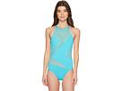 MICHAEL Michael Kors Layered Illusion High Neck One-Piece Swimsuit w/ Mesh Insert