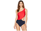 MICHAEL Michael Kors Geometric Glamour Solids One Shoulder Cut Out One-Piece Swimsuit w/ Zipper Removable Soft Cups