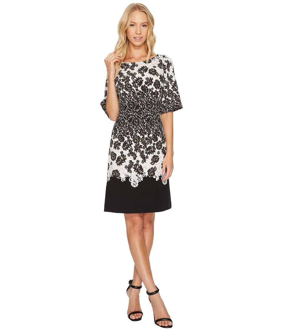 Adrianna Papell - Fluttering Lace Print Fit Flare with Elbow Length Sleeves