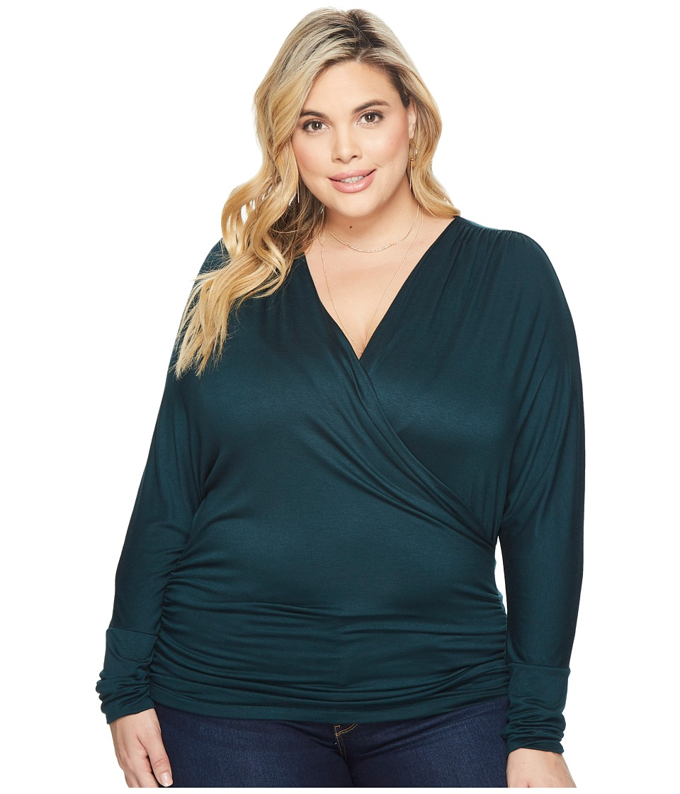Kiyonna - Femme Faux Wrap Top (Deep Green) Womens Long Sleeve Pullover