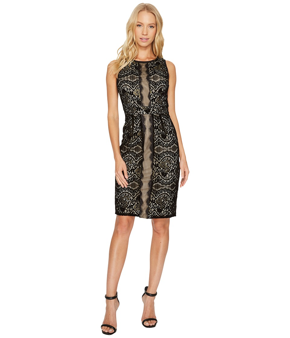 Adrianna Papell - Flocked Lurex Lace Mixed Media Sheath