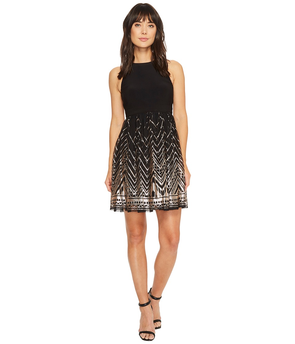 Vince Camuto Ity/Sequin Sleeveless Twofer Fit and Flare Dress (Black/Gold) Women