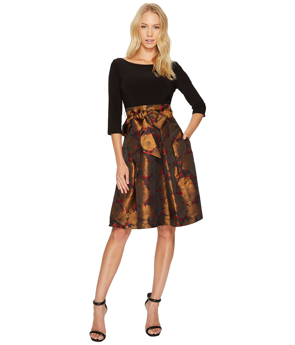 Adrianna Papell - Jacquard Fit Flare with Matte Jersey Top