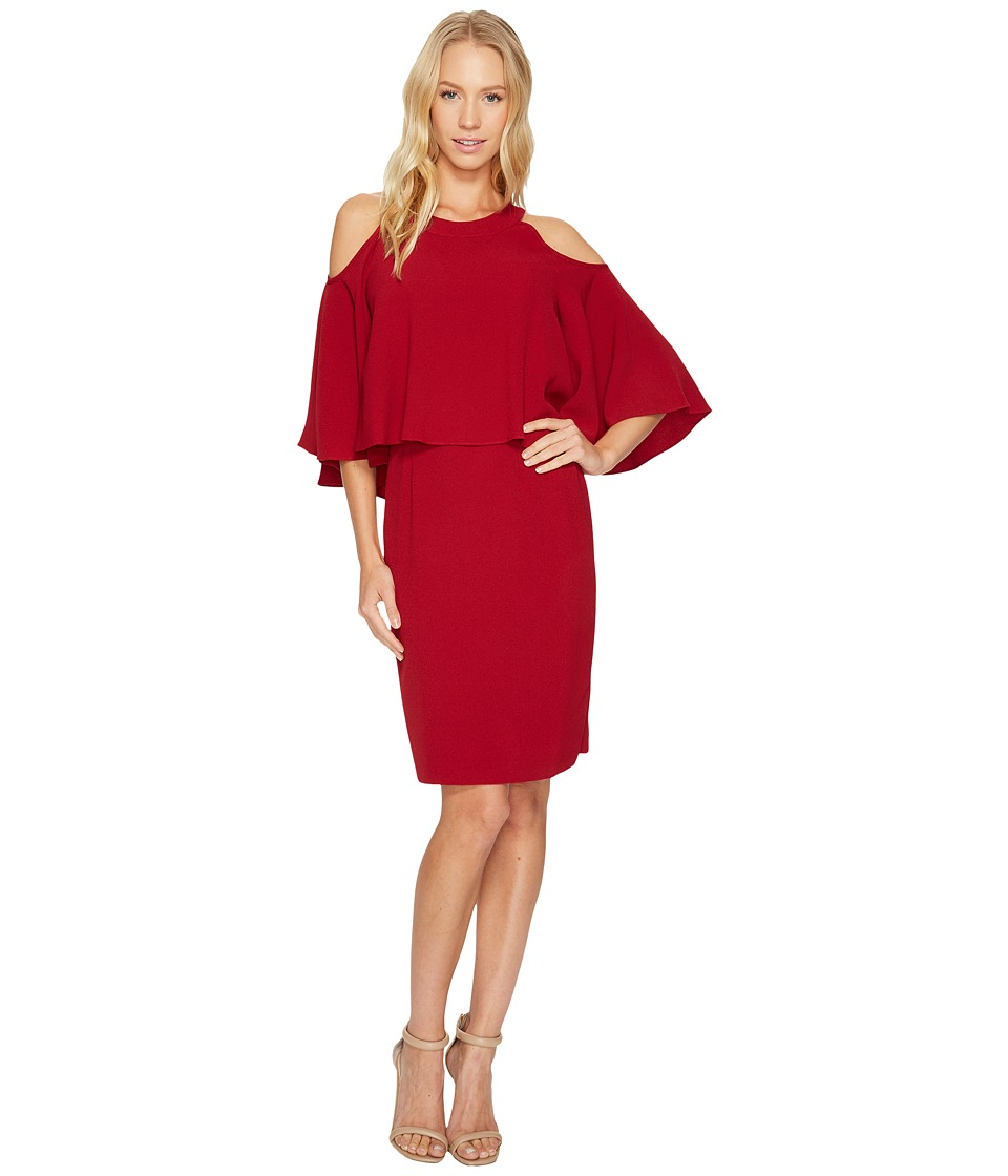 Adrianna Papell - Textured Crepe Cold Shoulder Sheath