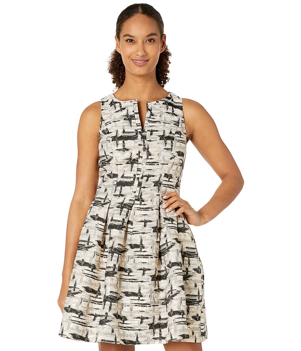 Vince Camuto Jacquard Sleeveless Fit and Flare Dress (Black/Gold) Women