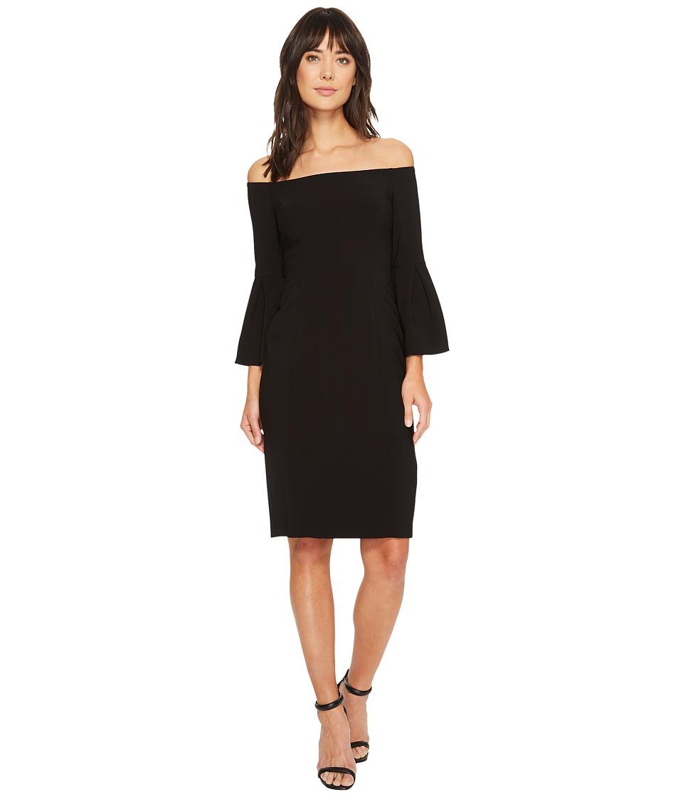 Vince Camuto Crepe Bodycon Dress w/ Flounce Sleeves (Black) Women
