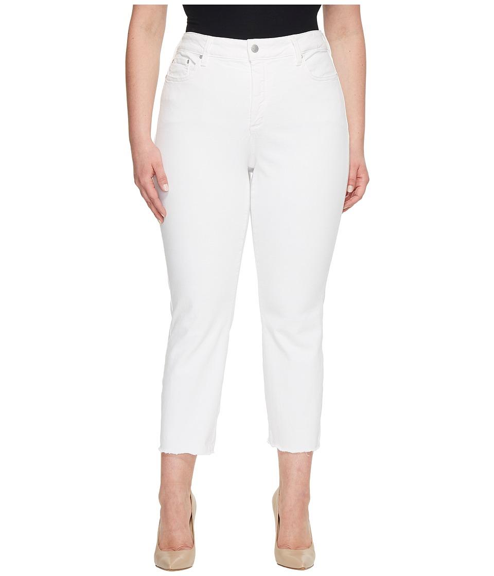 NYDJ Plus Size - Plus Size Sheri Slim Ankle w/ Fray Hem in Optic White (Optic White) Womens Jeans