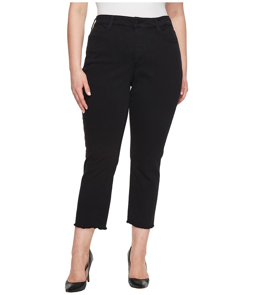 NYDJ Plus Size - Plus Size Sheri Slim Ankle w/ Fray Hem in Black (Black) Womens Jeans