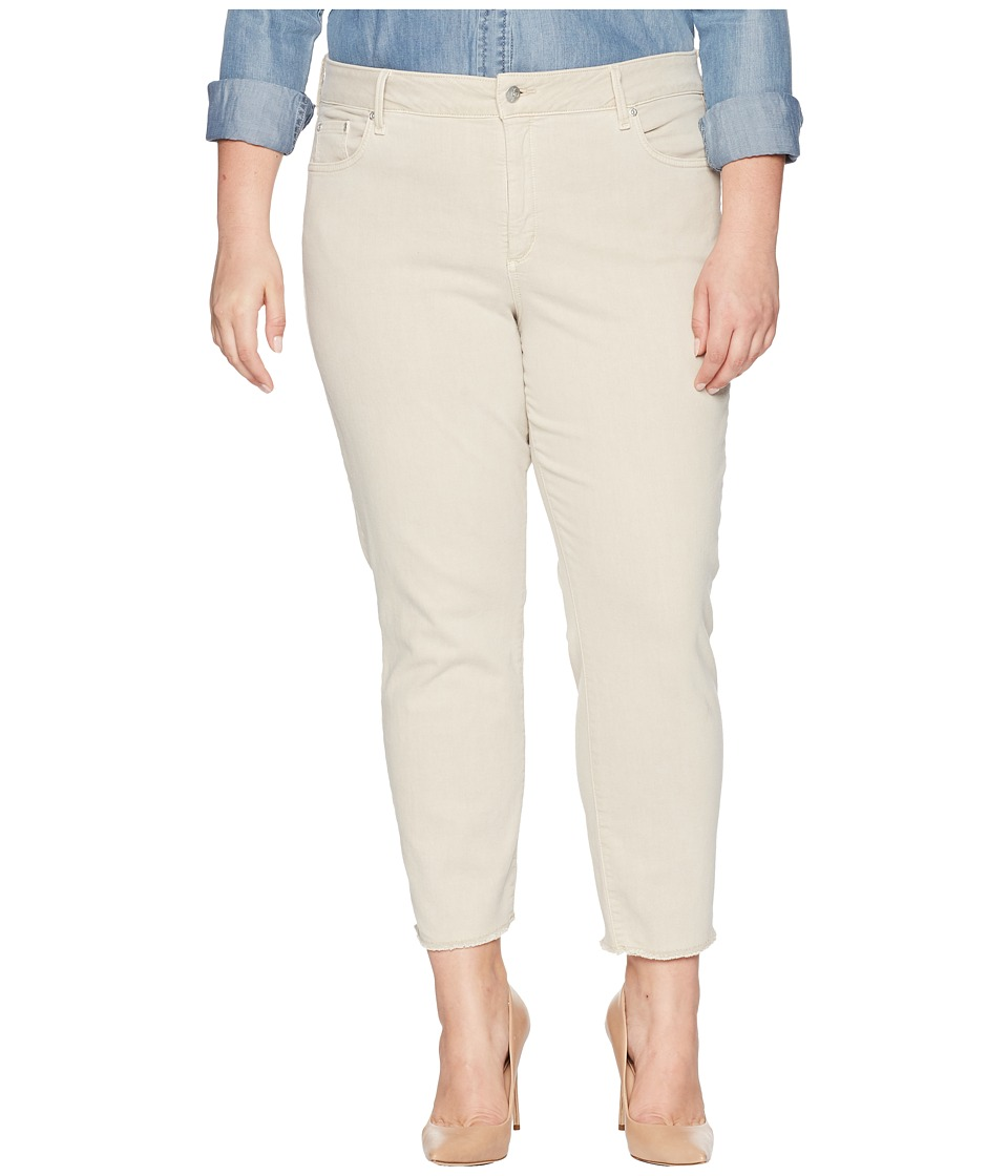 NYDJ Plus Size - Plus Size Sheri Slim Ankle w/ Fray Hem in Feather (Feather) Womens Jeans
