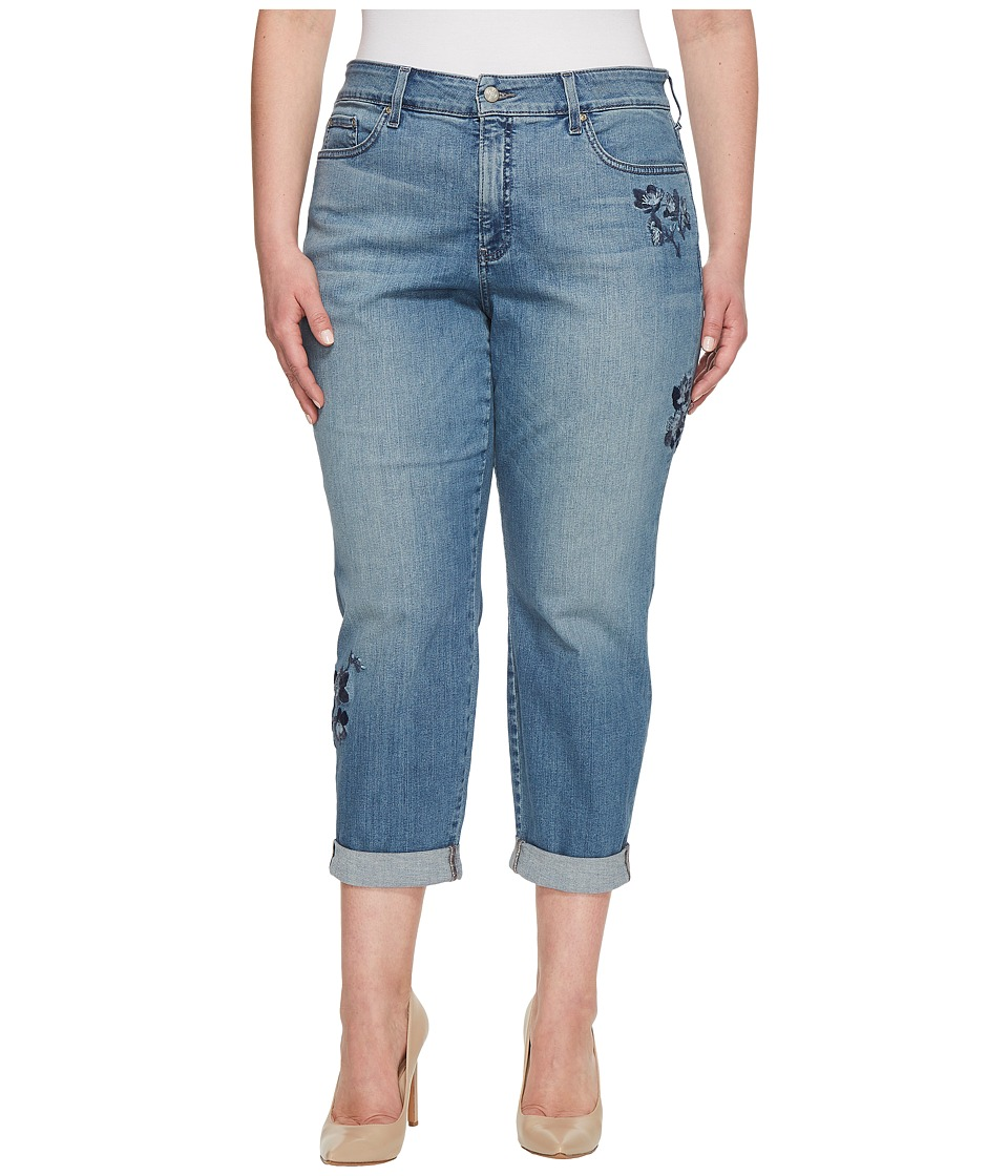 NYDJ Plus Size - Plus Size Boyfriend w/ Floral Embroidery in Pacific (Pacific) Womens Jeans