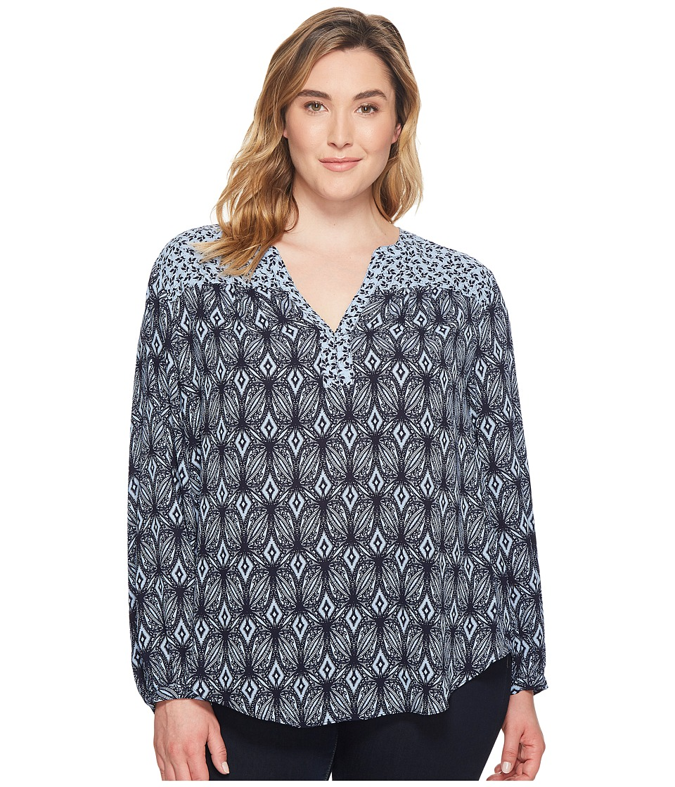 NYDJ Plus Size - Plus Size Print Mix Peasant Top (Garden Batik Forever Blue) Womens Clothing