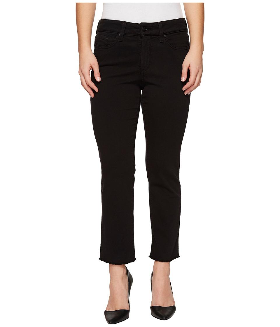 NYDJ Petite - Petite Sheri Slim Ankle w/ Fray Hem Twill (Black) Womens Casual Pants