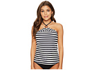 MICHAEL Michael Kors Stable Stripe Logo Ring High Neck Bandini Top w/ Removable Soft Cups