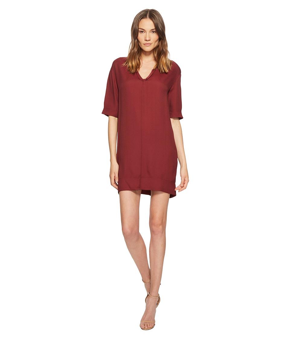 Manila Grace - Short Sleeve V-Neck Dress (Red) Womens Dress