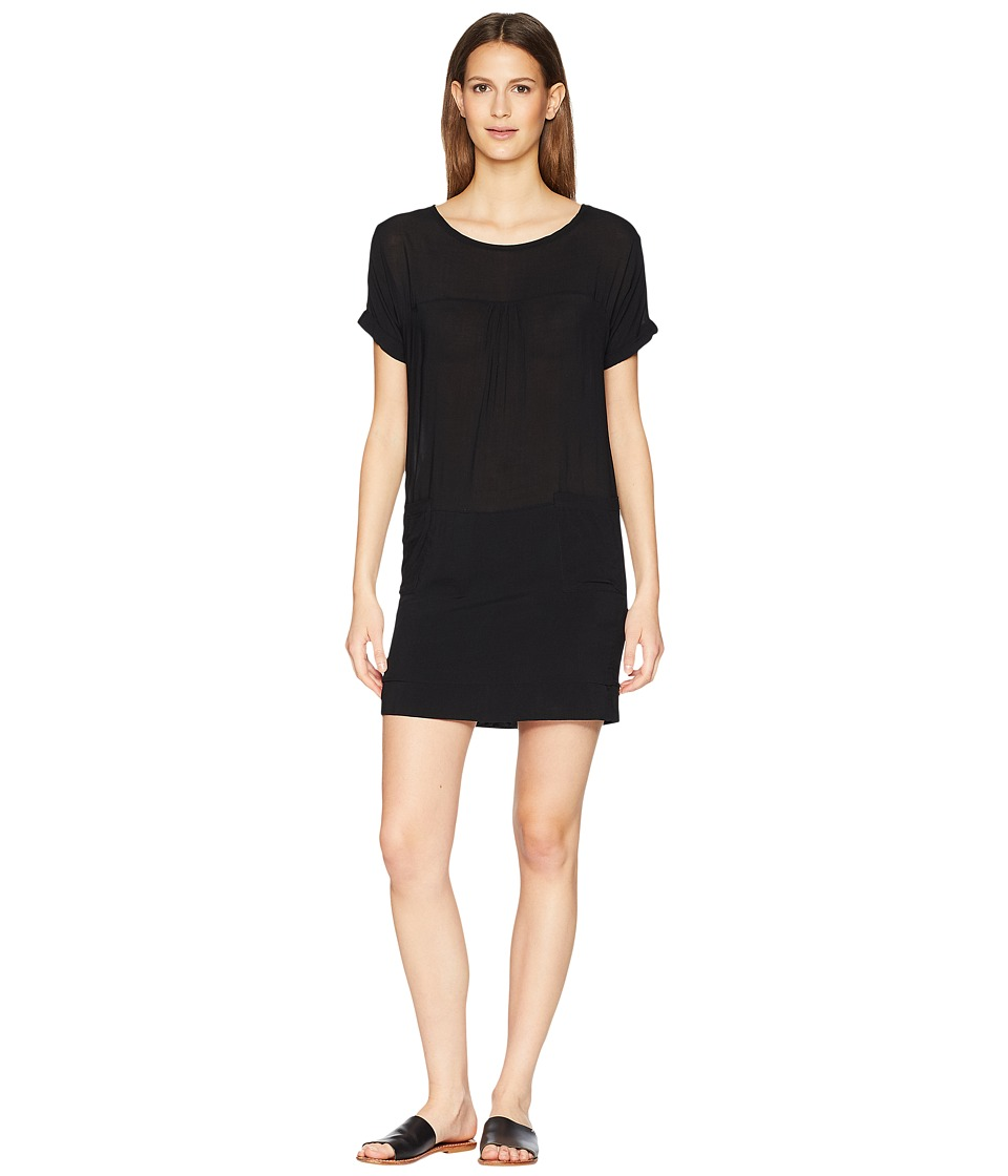 Manila Grace - Short Sleeve Boat Neck Dress (Black) Womens Dress