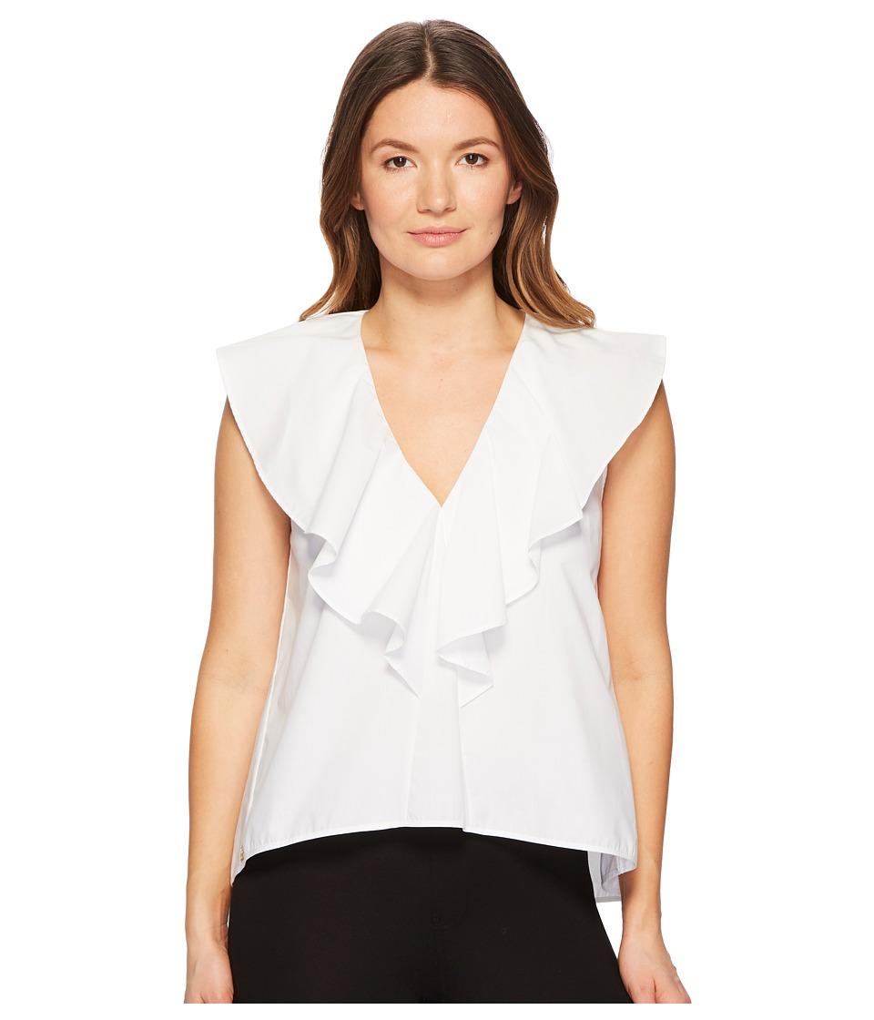 Manila Grace - Ruffle Front Sleeveless Top (White) Womens Clothing