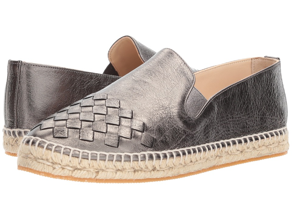 Bottega VenetaIntrecciato Leather Espadrille  (Silver) Womens Flat Shoes