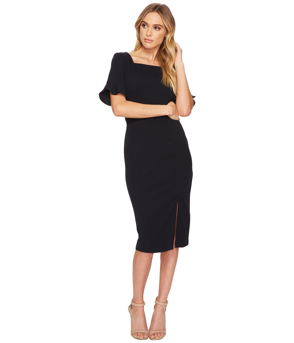 Donna Morgan Midi Sheath Dress w/ Ruffle Sleeve and Side ...