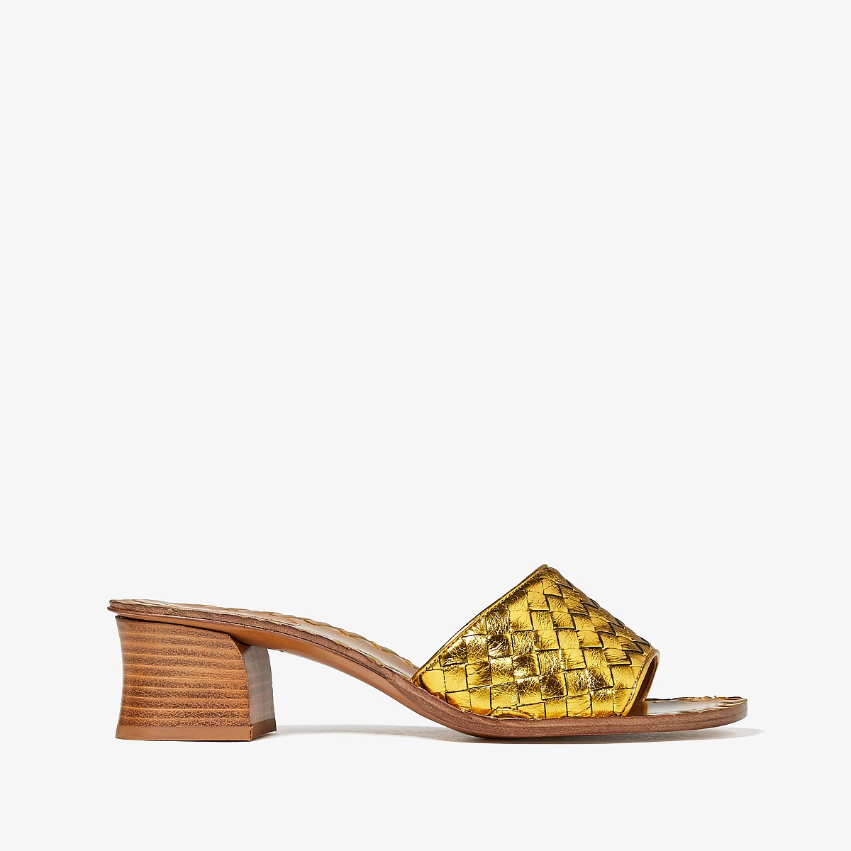 Bottega VenetaIntrecciato Heeled Sandal  (Golden Brown) High Heels