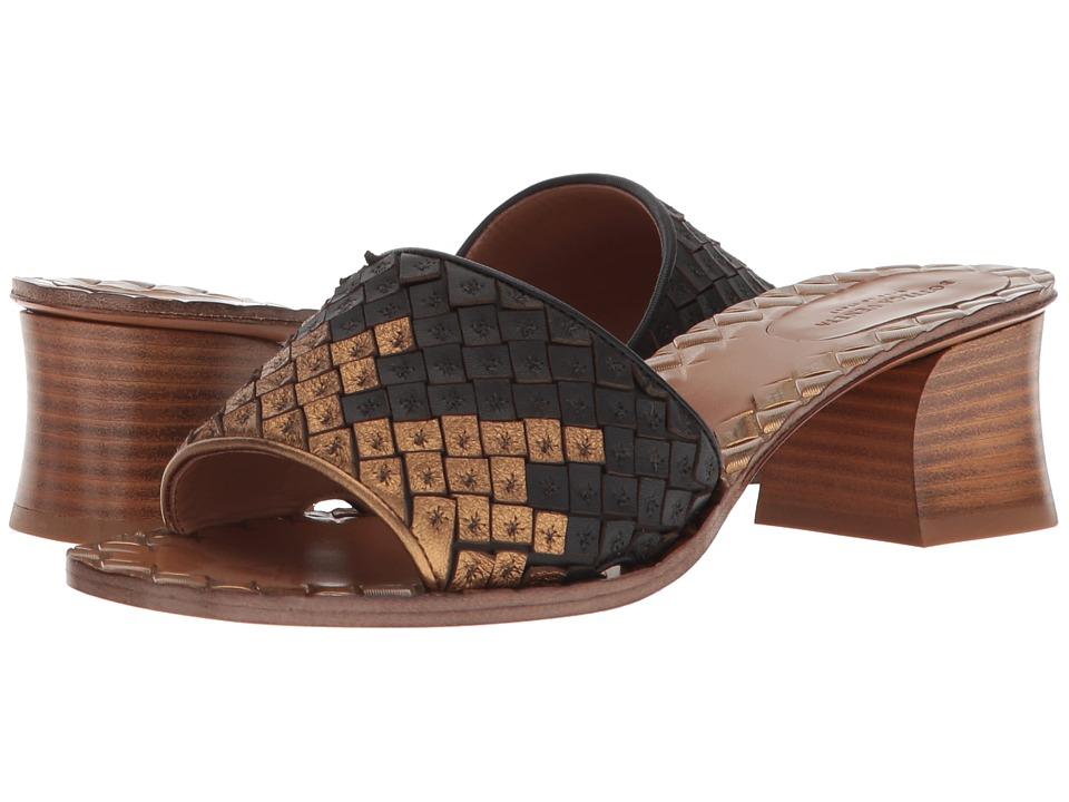 Bottega VenetaIntrecciato Heeled Sandal  (Gold-Black) High Heels