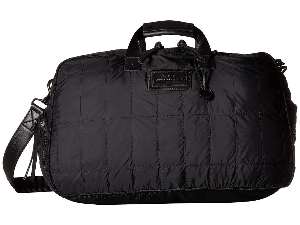 John Varvatos Star U.S.A. Quilted Nylon Duffel w/ Shoe Pack (Black) Duffel Bags