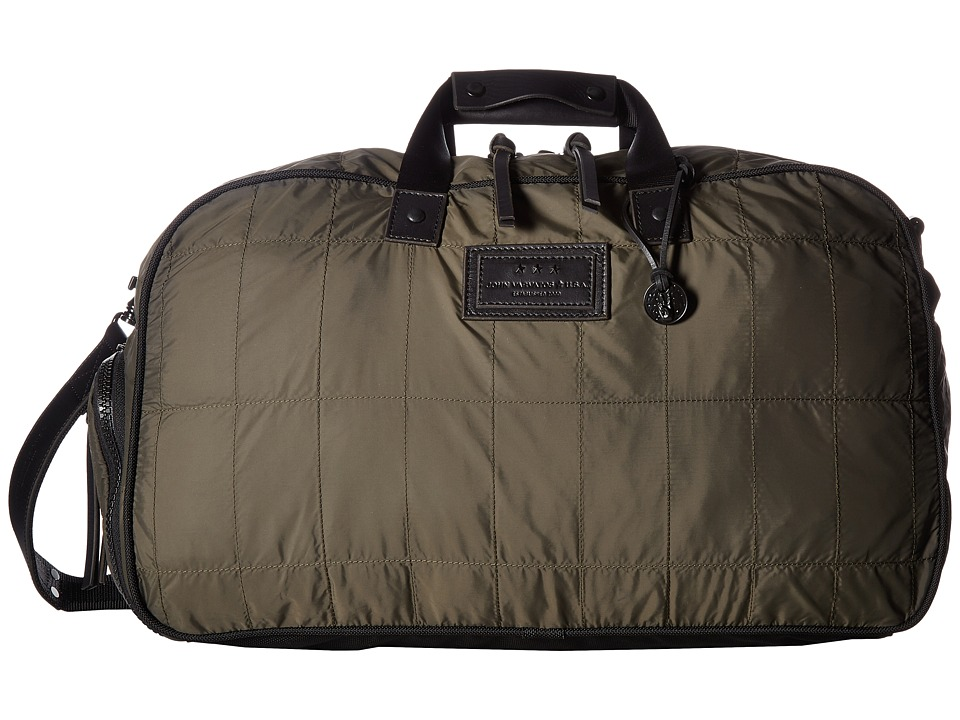 John Varvatos Star U.S.A. Quilted Nylon Duffel w/ Shoe Pack (Army Green) Duffel Bags