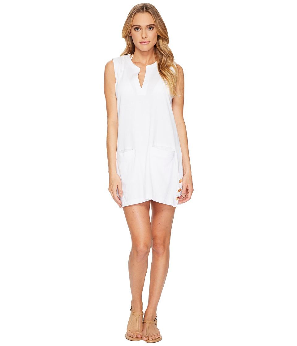 LAUREN Ralph Lauren Button Tunic Cover-Up (White) Women
