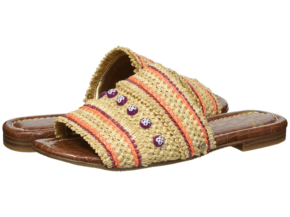 Sam Edelman - Brandon (Almond/Sedona Orange Woven Multicolor Raffia) Womens Slide Shoes