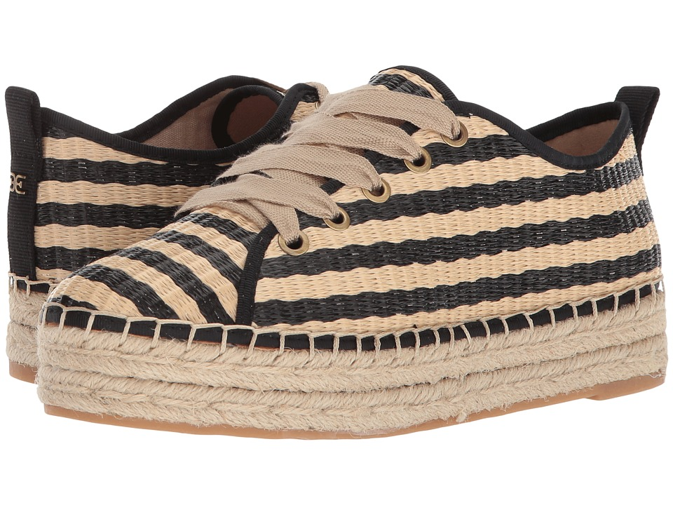 Sam Edelman - Celina (Natural/Black Stripe Woven Raffia) Womens Lace up casual Shoes