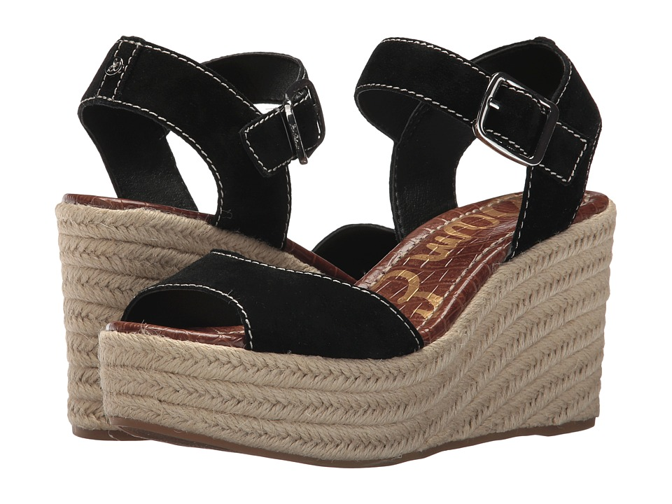 Sam Edelman - Dimitree (Black Velutto Suede Leather/Vaquero Saddle Leather) Womens Wedge Shoes
