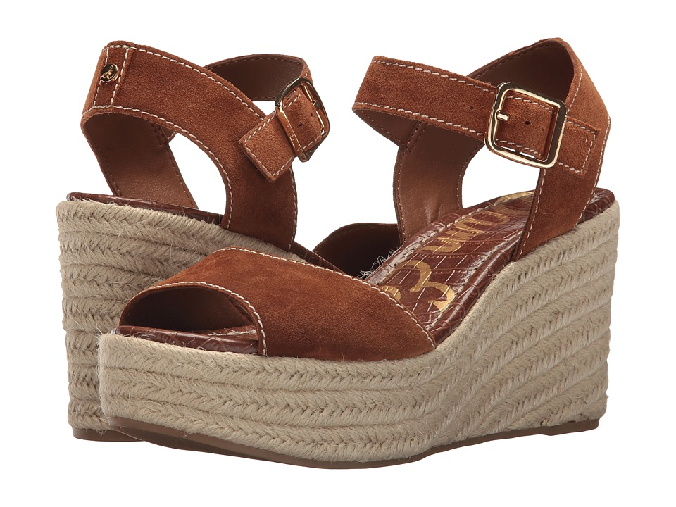 Vintage Style Shoes, Vintage Inspired Shoes Sam Edelman - Dimitree Luggage Velutto Suede LeatherVaquero Saddle Leather Womens Wedge Shoes $120.00 AT vintagedancer.com