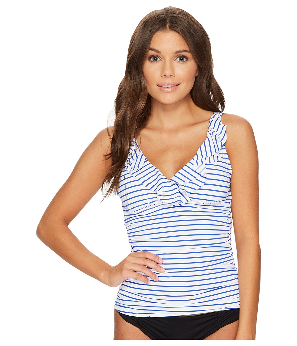 LAUREN Ralph Lauren City Stripe Ruffle Tankini (White/Blue) Women