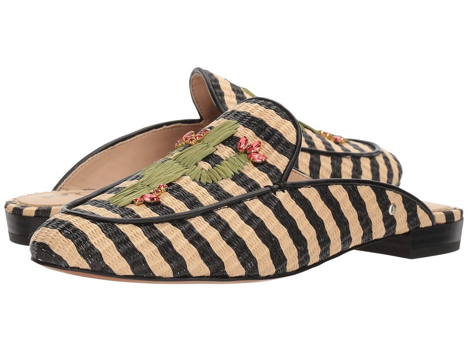 Sam Edelman - Jillian (Black/Natural Stripe Woven Raffia) Womens Shoes