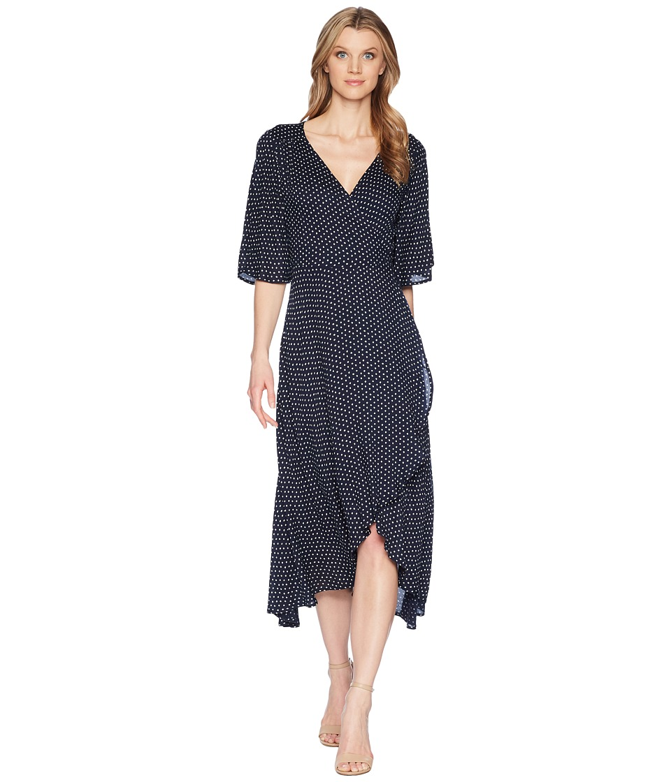 B Collection by Bobeau - Orna Wrap Dress (Navy Polka Dot) Womens Dress