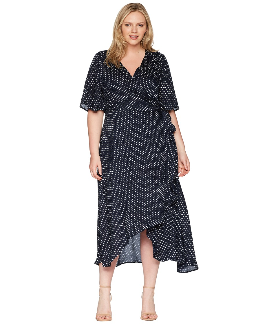 B Collection by Bobeau - Plus Size Orna Wrap Dress (Navy Polka Dot) Womens Dress