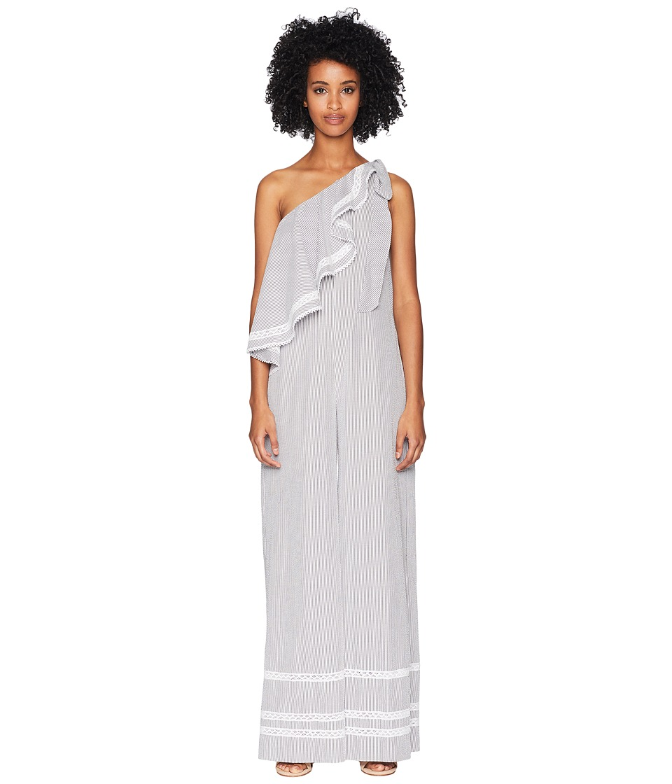 Jonathan Simkhai - Striped Cotton Jumpsuit Cover-Up (Grey...