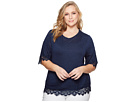 B Collection by Bobeau B Collection by Bobeau Plus Size Reeve Lace Trim Tee