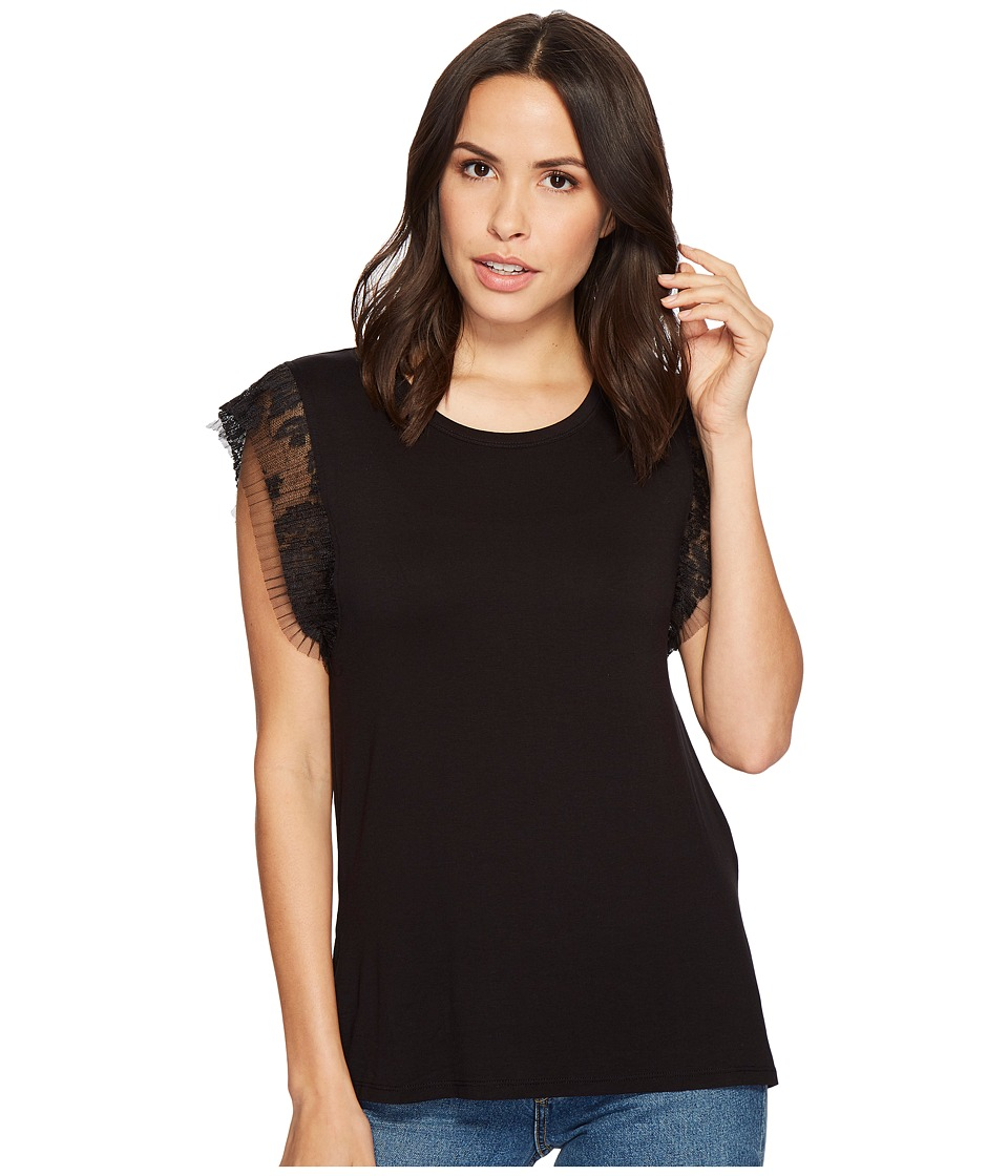 Image of B Collection by Bobeau - Alden T-Shirt with Mini Pleat (Black) Women's T Shirt