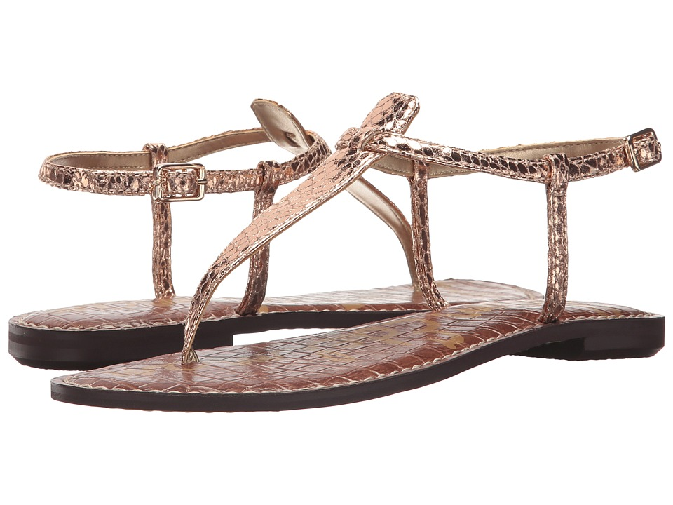 Sam Edelman Gigi (Rose Gold Metallic Boa Snake Print) Sandals